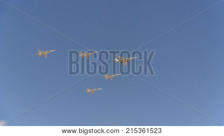 Bombers Tupolev Tu-160 (blackjack) And Tu-22M3 Fly In Sky