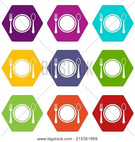 Place setting with plate, spoon and fork icon set many color hexahedron isolated on white vector illustration