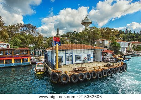 ISTANBUL TURKEY: The Kanlica district on the Asian side of Bosphorus. A lovely district is famous with its fish restaurants and cream yogurt on October 3 2017