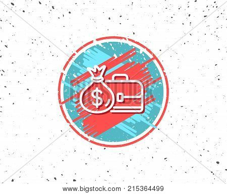 Grunge button with symbol. Business case line icon. Portfolio and Salary symbol. Diplomat with Money bag sign. Random background. Vector