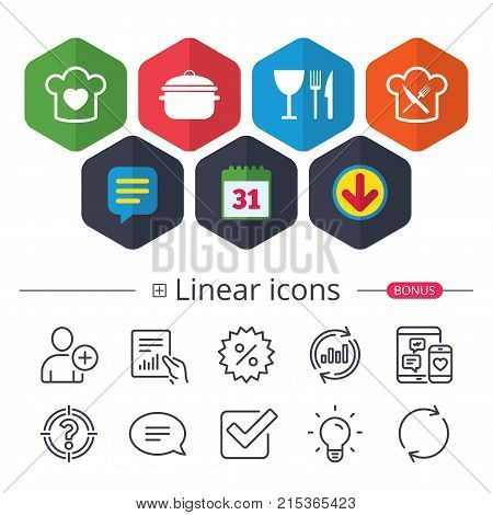 Calendar, Speech bubble and Download signs. Chief hat with heart and cooking pan icons. Crosswise fork and knife signs. Boil or stew food symbol. Chat, Report graph line icons. More linear signs