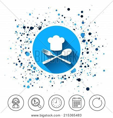 Button on circles background. Chef hat sign icon. Cooking symbol. Cooks hat with fork and spoon. Calendar line icon. And more line signs. Random circles. Editable stroke. Vector