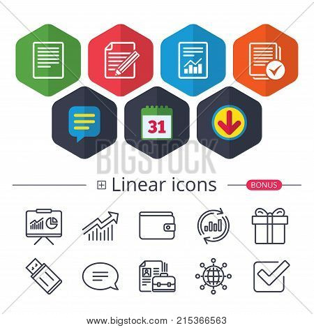 Calendar, Speech bubble and Download signs. File document icons. Document with chart or graph symbol. Edit content with pencil sign. Select file with checkbox. Chat, Report graph line icons. Vector