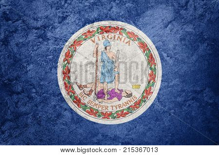 Grunge Virginia State Flag. Virginia Flag Background Grunge Texture.