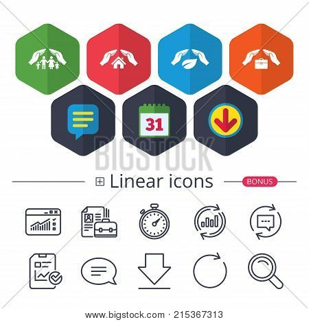 Calendar, Speech bubble and Download signs. Hands insurance icons. Human life insurance symbols. Nature leaf protection symbol. House property insurance sign. Chat, Report graph line icons. Vector