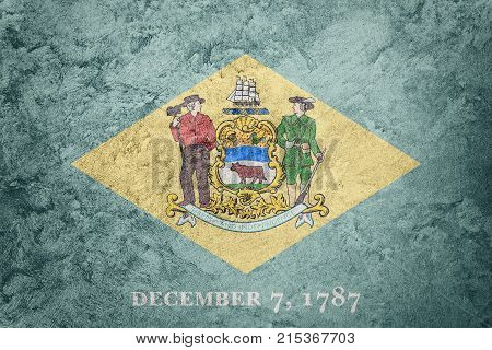 Grunge Delaware State Flag. Delaware Flag Background Grunge Texture.