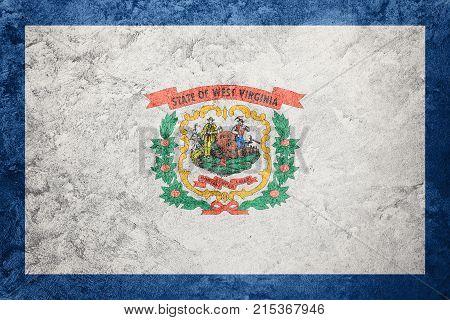 Grunge West Virginia State Flag. West Virginia Flag Background Grunge Texture.
