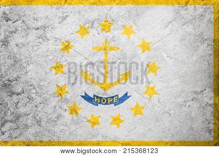 Grunge Rhode Island State Flag. Rhode Island Flag Background Grunge Texture.