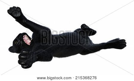 3D rendering of a black panther isolated on white background
