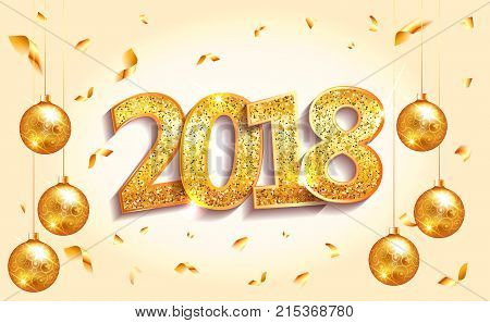 2018 Happy New Year Banner With Numbers On Light Background. Gold Glitter Sparkles Numbers Lettering