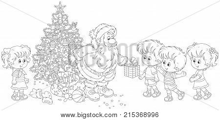 Santa Claus giving Christmas presents to little children