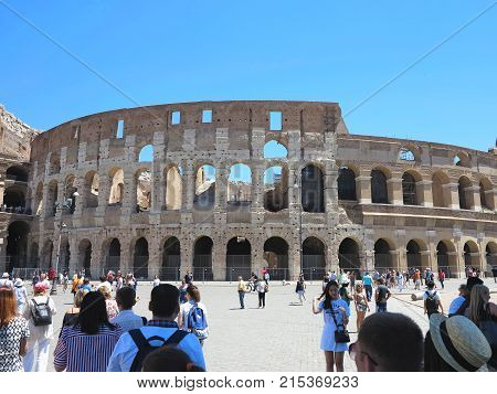 19.06.2017, Rome, Italy: Crowds Of Tourists Admire The Great Roman Colosseum ( Coliseum, Colosseo ,