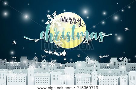 Merry Christmas. Moon and Santa Claus Driving in a Sledge over city at Night seance background. Paper art and craft Style