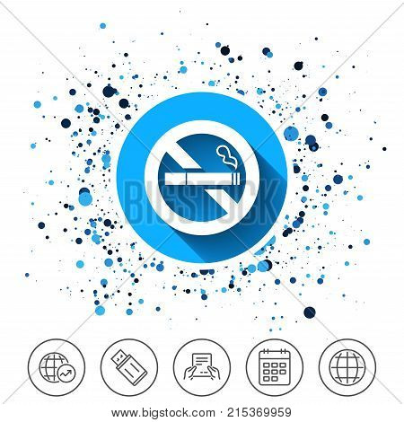 Button on circles background. No Smoking sign icon. Quit smoking. Cigarette symbol. Calendar line icon. And more line signs. Random circles. Editable stroke. Vector