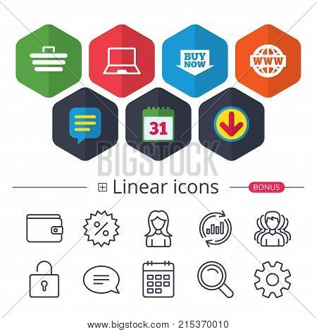 Calendar, Speech bubble and Download signs. Online shopping icons. Notebook pc, shopping cart, buy now arrow and internet signs. WWW globe symbol. Chat, Report graph line icons. More linear signs