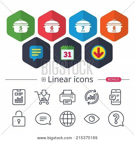 Calendar, Speech bubble and Download signs. Cooking pan icons. Boil 5, 6, 7 and 8 minutes signs. Stew food symbol. Chat, Report graph line icons. More linear signs. Editable stroke. Vector