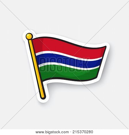 Vector illustration. Flag of The Gambia. Countries in Africa. Location symbol for travelers. Isolated on white background. Cartoon sticker with contour. Decoration for greeting cards, patches, prints