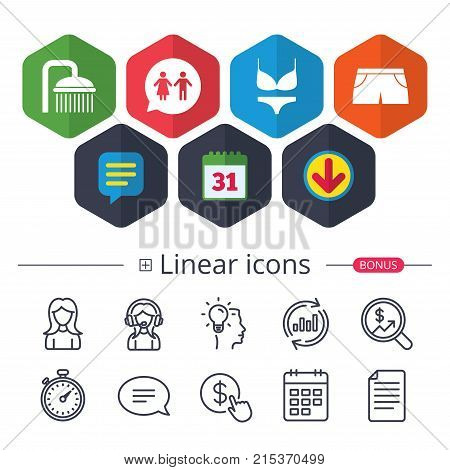 Calendar, Speech bubble and Download signs. Swimming pool icons. Shower water drops and swimwear symbols. WC Toilet speech bubble sign. Trunks and women underwear. Chat, Report graph line icons