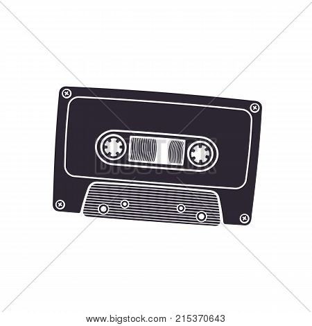 Vector illustration. Silhouette of retro audio cassette. Analog media for recording and listening to stereo music. Old-fashioned tape cassette. Isolated  pattern on white background