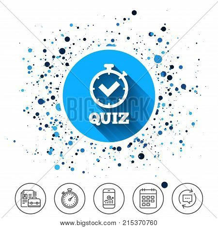 Button on circles background. Quiz timer sign icon. Questions and answers game symbol. Calendar line icon. And more line signs. Random circles. Editable stroke. Vector