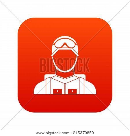 Military paratrooper icon digital red for any design isolated on white vector illustration