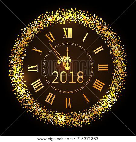 Vector 2018 shiny Merry Christmas and Happy new year 2018 gold clock with glitter frame. Vintage elegant luxury gold watch midnight New Year. Vector illustration EPS 10