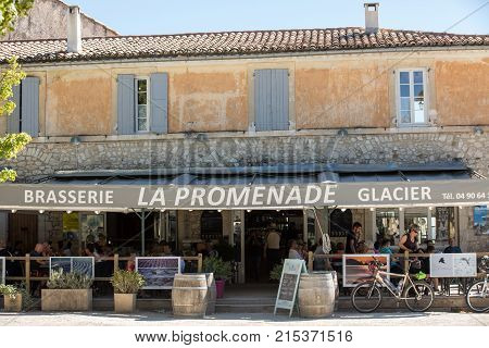 SAULT FRANCE - JUNE 25 2017: La Promenade Restaurant in Sault is popular with cyclists visitors and locals. Provence France