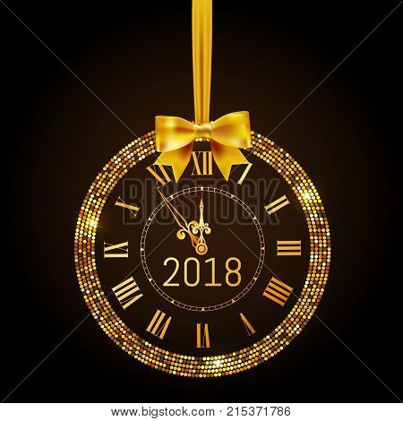 gold glitter disco vector 2017 happy new year background with gold clock and christmas tree border