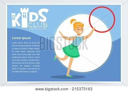 Poster for kids club with cute teen girl with hula-hoop, creative child practicing arts. Entertainment, development center promo. Extra-curricular activities. Colorful flat cartoon vector illustration
