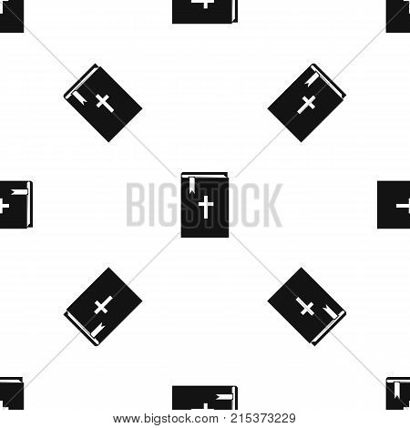 Bible pattern repeat seamless in black color for any design. Vector geometric illustration