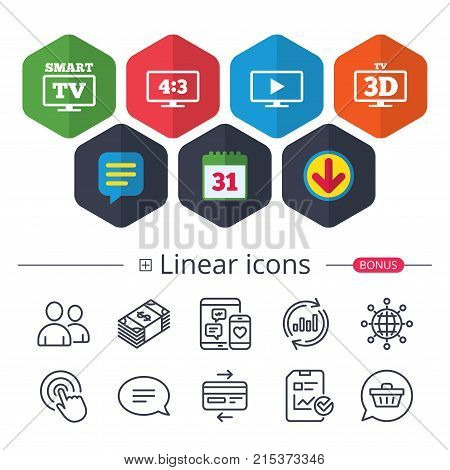 Calendar, Speech bubble and Download signs. Smart TV mode icon. Aspect ratio 4:3 widescreen symbol. 3D Television sign. Chat, Report graph line icons. More linear signs. Editable stroke. Vector