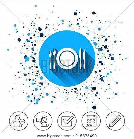 Button on circles background. Plate dish with forks and knifes. Eat sign icon. Cutlery etiquette rules symbol. Calendar line icon. And more line signs. Random circles. Editable stroke. Vector