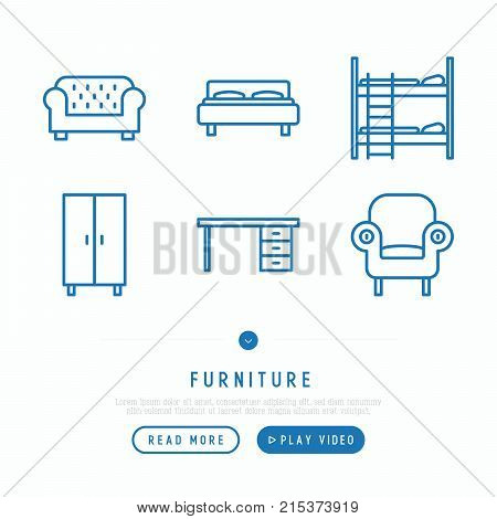 Furniture thin line icons set of coach, bed, wardrobe, armchair, desk, double decker bed. Modern vector illustration.