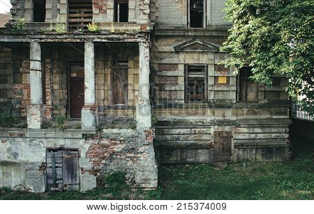 Konin Poland - July 22 2017: View on abandoned and neglected Edward Raymond's palace. Greater Poland province.