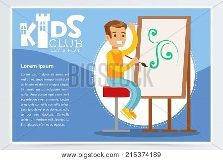 Happy boy character sitting on a stool and painting ornament on canvas. Blue poster for kids club promo. Creative child practicing arts in art class. Colorful flat style, cartoon vector illustration.