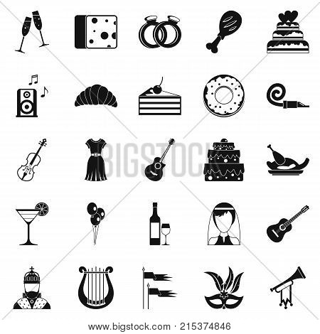 Feast icons set. Simple set of 25 feast vector icons for web isolated on white background
