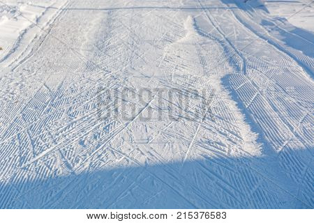 Road For The Skier. Traces From Skis.