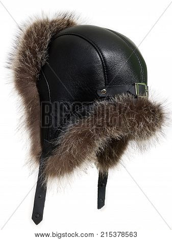 Cap with fur, russian hat, isolated on white background