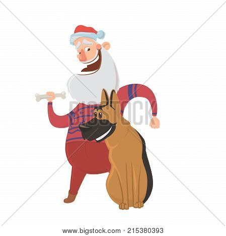 Happy laughing Santa Claus and a dog. Characters for new year's cards for year of the dog according to the Eastern calendar. Vector Illustration, isolated on white background.