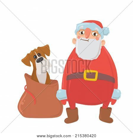 Santa Claus and dog in bag. Characters for new year's cards for year of the dog according to the Eastern calendar. Vector Illustration, isolated on white background.