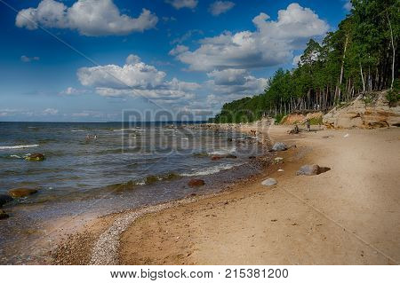 Baltic Sea Coast In Summer Vacation