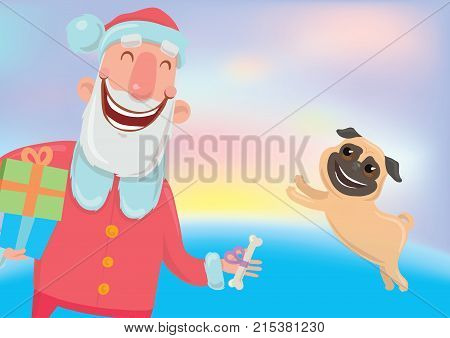 Happy laughing Santa Claus and a dog. New year and Christmas cards for year of the dog according to the Eastern calendar. Vector Characters Illustration on glowing colourful background.