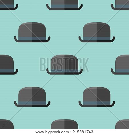 Seamless pattern with bowler hat on teal background. Vector texture.