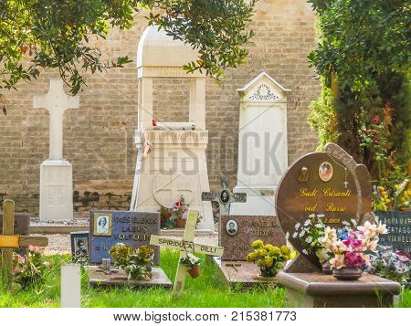 VENICE, ITALY - SEPTEMBER 6, 2013: Orthodox section of the cemetery of San Michele where Sergey Dyagilev's grave is located. San Michele Island, Venice