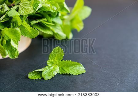 mint leaf. Green fresh mint selective focus. Bunch of Fresh green organic mint leaf closeup. Peppermint. Natural light. Selective focus. Close up on a black background. Top view flat lay. copy space