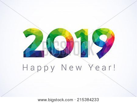 2019 A Happy New Year greetings. Abstract celebrating congratulating stained glass numbers. Jubilee or birthday logotype. 1, 2, 10th 20th 90th 12th 21 years old or % off multicolored illustration.