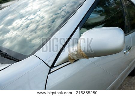 Car accident with adhesive tape on the side of the car accident.