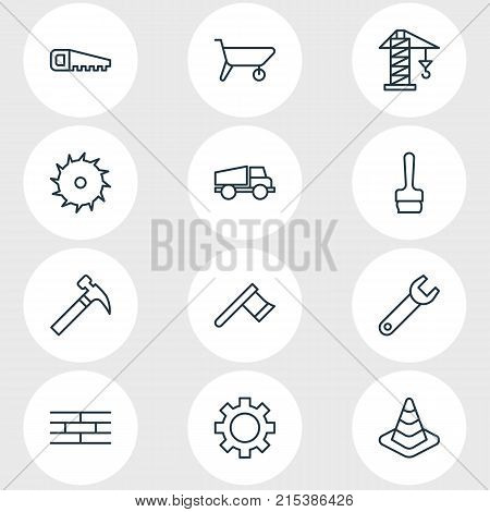 Vector Illustration Of 12 Construction Outline Icons. Editable Set Of Barrier, Handcart, Spanner Elements.