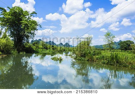 The beautiful mountains and countryside scenery, Guilin, China.