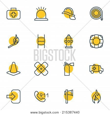 Vector Illustration Of 16 Extra Outline Icons. Editable Set Of Water, Hardhat, Burn And Other Elements.